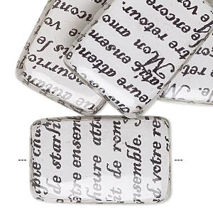 bead, wood / newspaper / acrylic, white and black, 30x20mm double-sided flat rectangle with phrase in french. sold per pkg of 8.