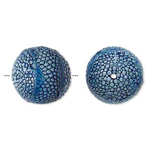 bead, wood and cowtail stingray leather (dyed), blue, 17mm round. sold individually.