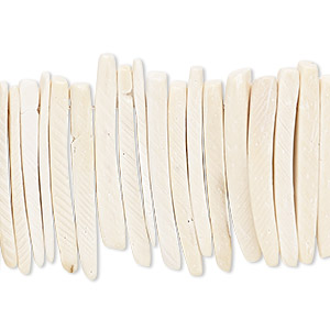bead, wood (bleached / waxed), white, 25x4mm hand-cut top-drilled stick. sold per 16-inch strand.