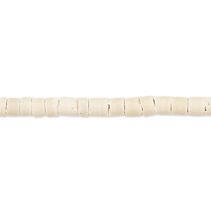 bead, wood (bleached / waxed), white, 3-4mm hand-cut heishi with 0.4mm hole. sold per pkg of (2) 24-inch strands.