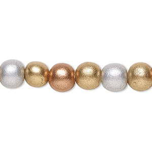 bead, wood (coated / waxed), metallic gold / silver / copper, 7-8mm round. sold per pkg of (2) 16-inch strands.