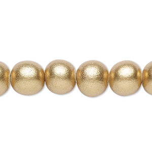 bead, wood (coated / waxed), metallic gold, 9-10mm round with 2-2.5mm hole. sold per pkg of (2) 16-inch strands.