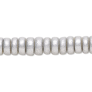 bead, wood (coated / waxed), metallic silver, 8x4mm rondelle. sold per pkg of (2) 16-inch strands.