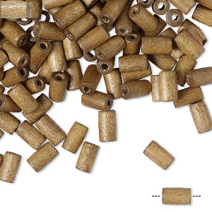 bead, wood (coated), brown, 6x3mm hand-cut tube. sold per pkg of 450-500.