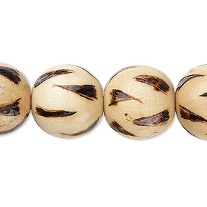 bead, wood (coated), burnt, 15-16mm round with flame pattern. sold per 16-inch strand.