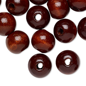 bead, wood (dyed / coated), brown, 12mm round with 2.5-3mm hole. sold per pkg of 24.