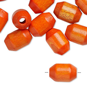 bead, wood (dyed / coated), orange, 15x10mm barrel. sold per pkg of 24.