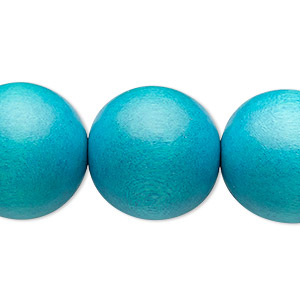 bead, wood (dyed / waxed), aqua blue, 19-20mm round with 2.5-3mm hole. sold per 16-inch strand.