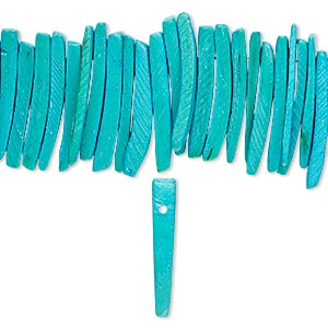 bead, wood (dyed / waxed), aqua blue, 25x4mm hand-cut top-drilled stick. sold per 16-inch strand.