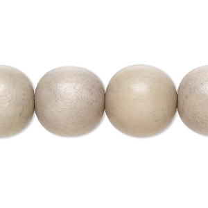bead, wood (dyed / waxed), beige, 15mm round with 2-3mm hole. sold per 16-inch strand.