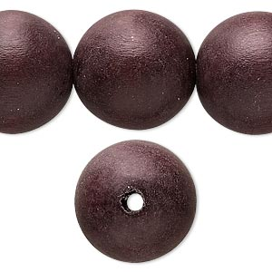 bead, wood (dyed / waxed), chocolate brown, 19-20mm round with 2.5-3mm hole. sold per 16-inch strand.