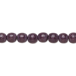 bead, wood (dyed / waxed), chocolate brown, 5-6mm round with 0.5-2mm hole. sold per pkg of (2) 16-inch strands.