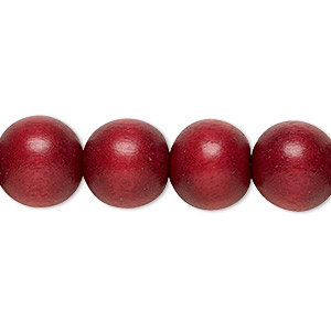 bead, wood (dyed / waxed), cranberry red, 11-12mm round with 1.5-3mm hole. sold per pkg of (2) 16-inch strands.