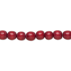 bead, wood (dyed / waxed), cranberry red, 5-6mm round with 0.5-2mm hole. sold per pkg of (2) 16-inch strands.