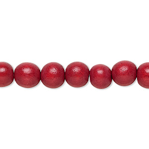 bead, wood (dyed / waxed), cranberry red, 7-8mm round. sold per pkg of (2) 16-inch strands.