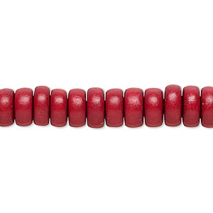 bead, wood (dyed / waxed), cranberry red, 8x4mm rondelle. sold per pkg of (2) 16-inch strands.