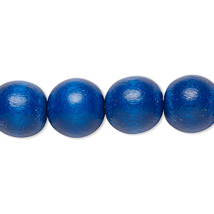 bead, wood (dyed / waxed), dark blue, 11-12mm round with 1.5-3mm hole. sold per pkg of (2) 16-inch strands.