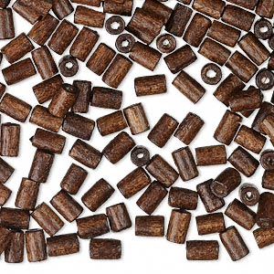 bead, wood (dyed / waxed), dark brown, 5x3mm hand-cut tube, 0.8-1.2mm hole. sold per pkg of 500.