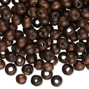 bead, wood (dyed / waxed), dark brown, 6x5mm hand-cut rondelle. sold per pkg of 500.