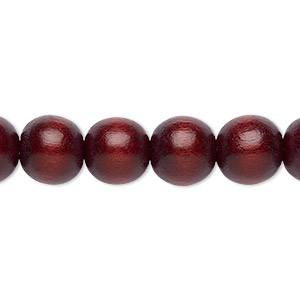 bead, wood (dyed / waxed), dark brown, 9-10mm round with 2-2.5mm hole. sold per pkg of (2) 16-inch strands.