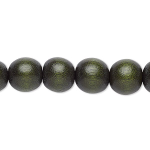 bead, wood (dyed / waxed), dark forest green, 9-10mm round with 2-2.5mm hole. sold per pkg of (2) 16-inch strands.