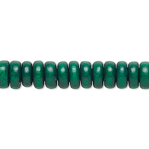 bead, wood (dyed / waxed), dark green, 8x4mm rondelle. sold per pkg of (2) 16-inch strands.