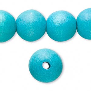 bead, wood (dyed / waxed), dark turquoise blue, 15mm round with 2-3mm hole. sold per 16-inch strand.