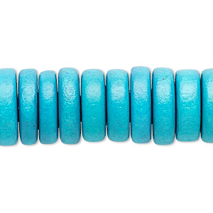 bead, wood (dyed / waxed), dark turquoise blue, 15x2mm-16x5mm rondelle. sold per 8-inch strand.