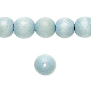 bead, wood (dyed / waxed), light blue, 10mm round with 1.4-2.5mm hole. sold per 16-inch strand.