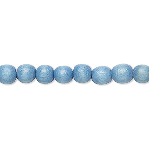 bead, wood (dyed / waxed), light blue, 5-6mm round with 0.5-2mm hole. sold per pkg of (2) 16-inch strands.