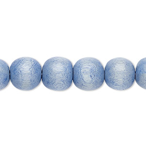 bead, wood (dyed / waxed), light blue, 9-10mm round with 2-2.5mm hole. sold per pkg of (2) 16-inch strands.
