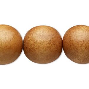 bead, wood (dyed / waxed), light brown, 19-20mm round with 2.5-3mm hole. sold per 16-inch strand.