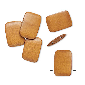bead, wood (dyed / waxed), light brown, 30x20mm double-drilled flat rectangle. sold per pkg of 6.