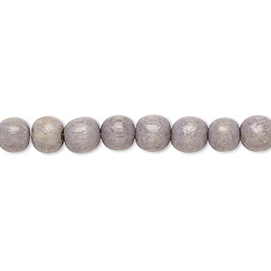 bead, wood (dyed / waxed), light grey, 5-6mm round with 0.5-2mm hole. sold per pkg of (2) 16-inch strands.