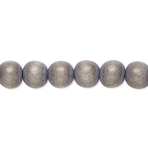 bead, wood (dyed / waxed), light grey, 7-8mm round. sold per pkg of (2) 16-inch strands.