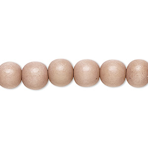 bead, wood (dyed / waxed), light mauve, 7-8mm round. sold per pkg of (2) 16-inch strands.