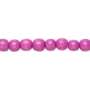 bead, wood (dyed / waxed), light purple, 5-6mm round with 0.5-2mm hole. sold per pkg of (2) 16-inch strands.