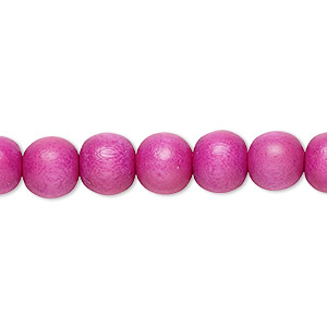 bead, wood (dyed / waxed), light purple, 7-8mm round. sold per pkg of (2) 16-inch strands.