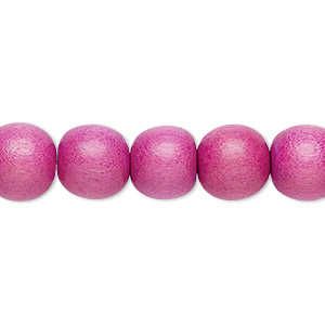 bead, wood (dyed / waxed), light purple, 9-10mm round with 2-2.5mm hole. sold per pkg of (2) 16-inch strands.