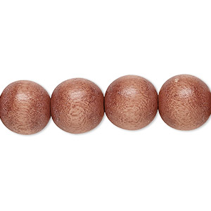 bead, wood (dyed / waxed), mauve, 11-12mm round with 1.5-3mm hole. sold per pkg of (2) 16-inch strands.
