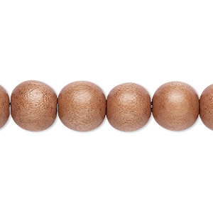 bead, wood (dyed / waxed), mauve, 9-10mm round with 2-2.5mm hole. sold per pkg of (2) 16-inch strands.