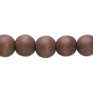 bead, wood (dyed / waxed), mocha brown, 10mm round with 1.4-2.5mm hole. sold per 16-inch strand.