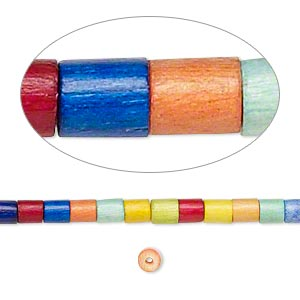 bead, wood (dyed / waxed), rainbow, 3x2mm-4x3mm heishi. sold per pkg of (2) 24-inch strands.
