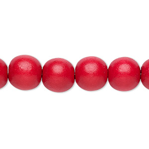 bead, wood (dyed / waxed), red, 9-10mm round with 2-2.5mm hole. sold per pkg of (2) 16-inch strands.