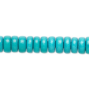 bead, wood (dyed / waxed), turquoise blue, 8x4mm rondelle. sold per pkg of (2) 16-inch strands.