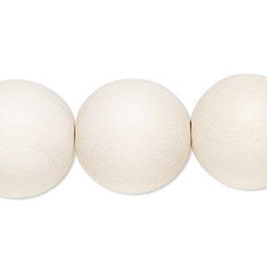 bead, wood (dyed / waxed), white, 19-20mm round with 2.5-3mm hole. sold per 16-inch strand.