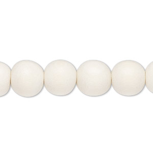 bead, wood (dyed / waxed), white, 9-10mm round with 2-2.5mm hole. sold per pkg of (2) 16-inch strands.