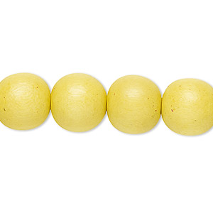bead, wood (dyed / waxed), yellow, 11-12mm round with 1.5-3mm hole. sold per pkg of (2) 16-inch strands.
