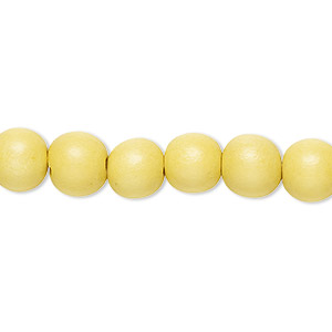 bead, wood (dyed / waxed), yellow, 7-8mm round. sold per pkg of (2) 16-inch strands.
