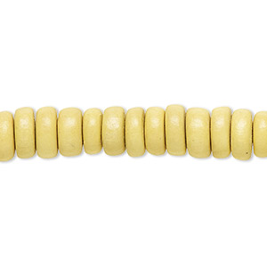 bead, wood (dyed / waxed), yellow, 8x4mm rondelle. sold per pkg of (2) 16-inch strands.